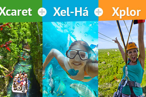 COMBO 8 Xcaret, XelHa, Xplor Tours(3 parks, 3 day)