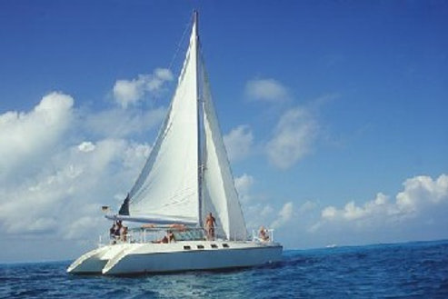 Isla Mujeres sailing on a catamaran