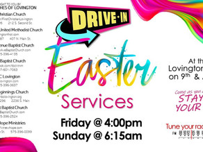 Drive-IN Easter Services in Lovington. Easter looks different this year but can never be cancelled!