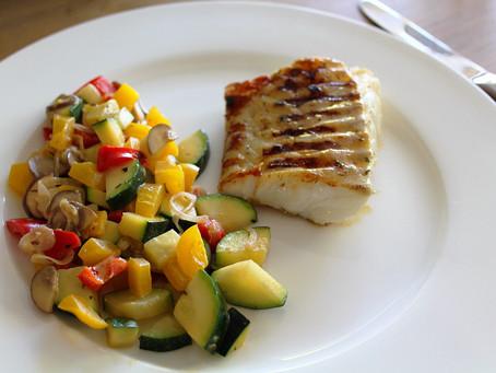 Gegrilde kabeljauw met groenten