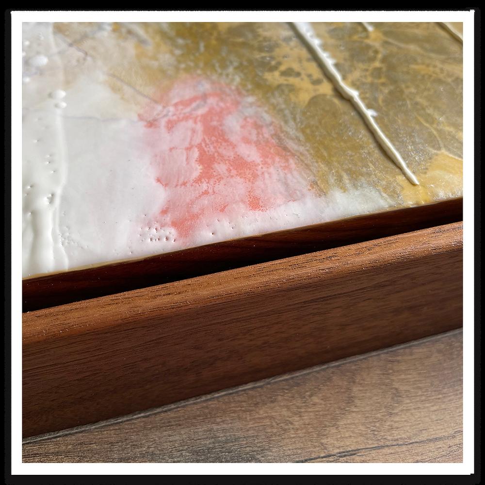Painting in wood float frame with veneer edge banding