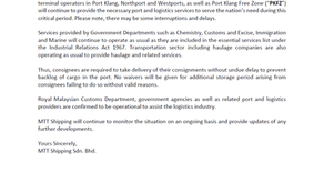 Customer Advisory 4 (COVID-19): Port Klang Terminals and PKFZ Operate as Usual