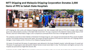 MTT Shipping and Malaysia Shipping Corporation Donates 2,000 Items of PPE to Sabah State Hospitals