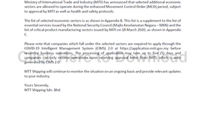 Customer Advisory 12 (COVID-19): Additional Sectors Allowed to Operate Under the Enhanced MCO