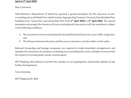Customer Advisory 7 (COVID-19): Sabah Ports Special Exemption to Clear Non-Essential Goods 1st April