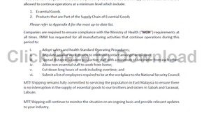 Customer Advisory 3 (COVID-19): FMM Announcement of Approved Industries
