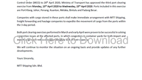 Customer Advisory 9 (COVID-19): Third Port Clearing Exercise from 13th April 2020 to 15th April 2020