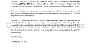 Customer Advisory 11 (COVID-19): Fourth Port Clearing Exercise from 20th April 2020 to 23rd April 20