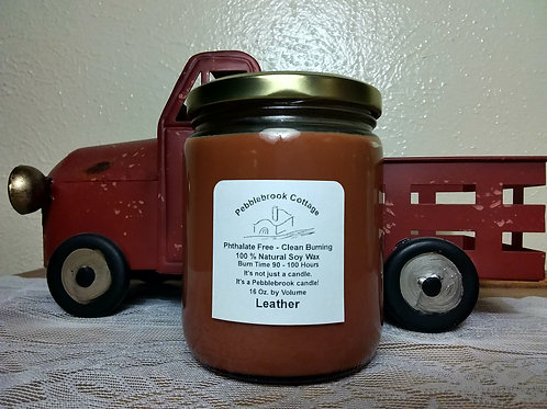 Leather 100% Natural Soy Wax Candle