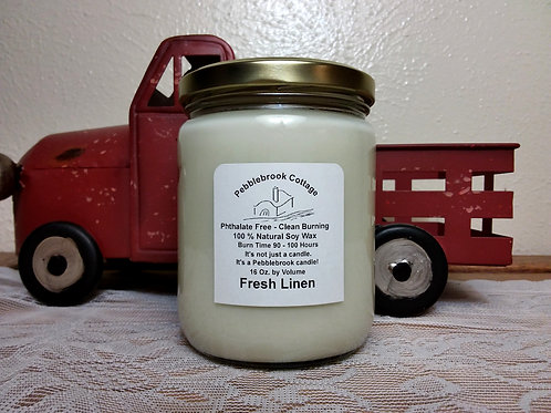 Fresh Linen 100% Natural Soy Wax Candle