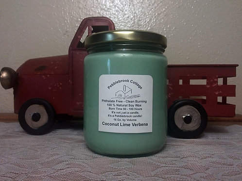 Coconut Lime Verbena 100% Natural Soy Wax Candle