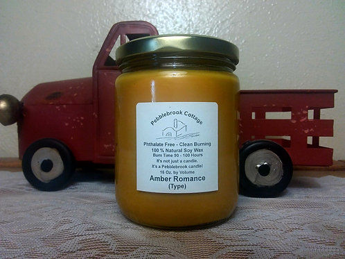 Amber Romance (Type) 100% Natural Soy Wax Candle
