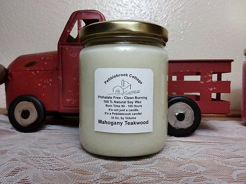 Mahogany Teakwood 100% Natural Soy Wax Candle