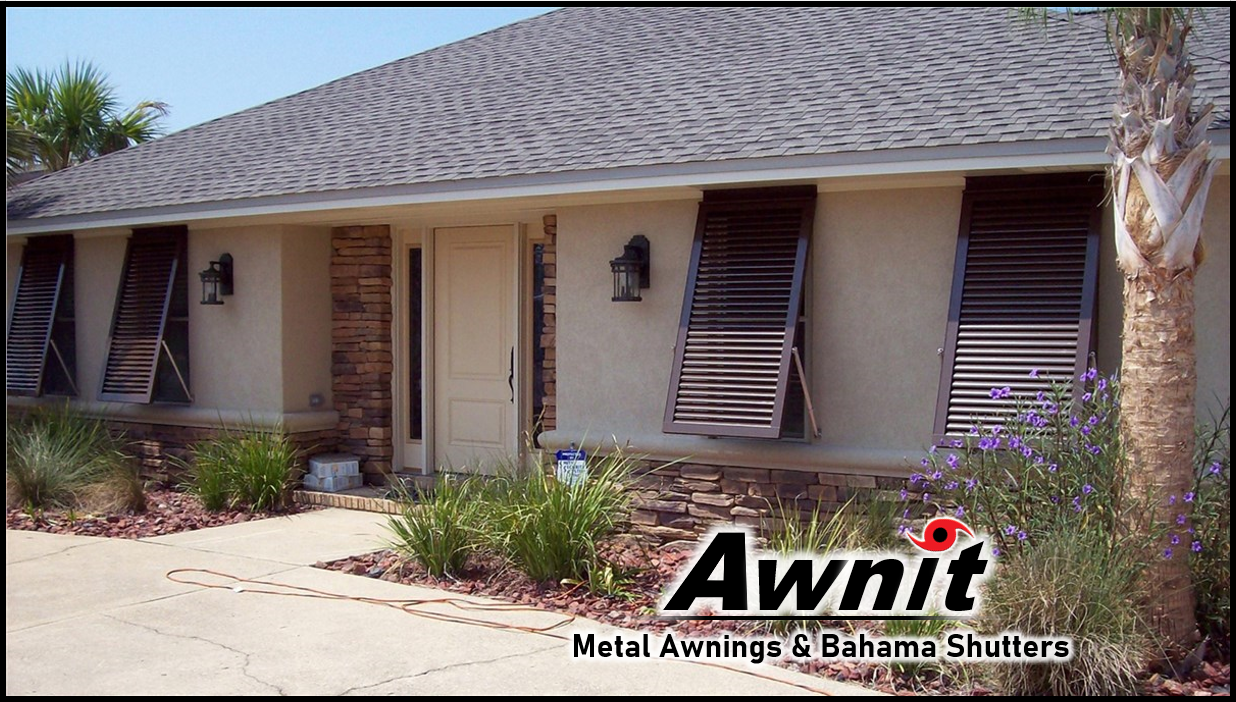 Bahama Shutters, Clamshell Awnings and Custom Exterior Metal Awnings