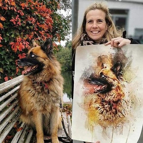 Digitaal portret in aquarelstijl 3 honden