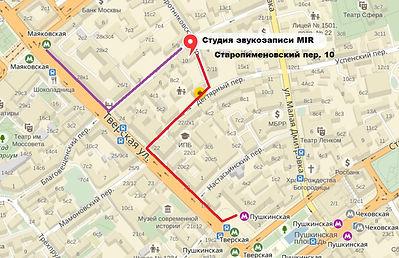 схема прохода от метро студия звукозаписи MIR старопименовский переулок дом 10