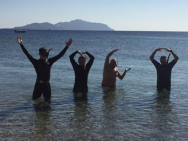 PADI IDC candidates spelling YMCA in th Red Sea
