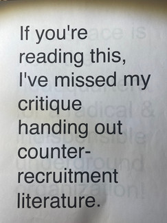 If you're reading this I've missed my critique hading out counter-recruitment literature.