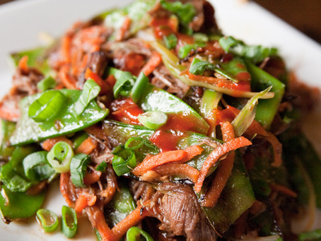 SKIRT OF CUMBRIAN BEEF WITH AN ASIAN STYLE SALAD