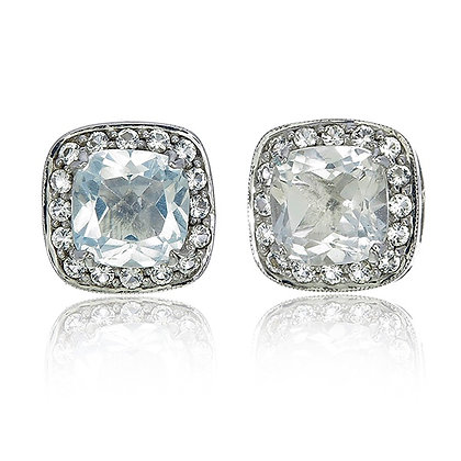 Cushion Cut White Topaz with White Topaz Pavé Studs in White Rhodium