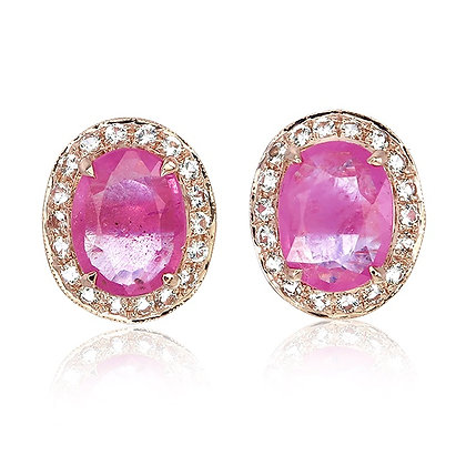 Oval Cut Ruby with White Topaz Pavé Studs