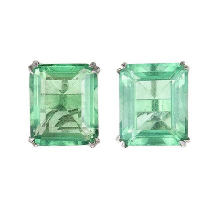 Emerald Cut Fluorite Studs