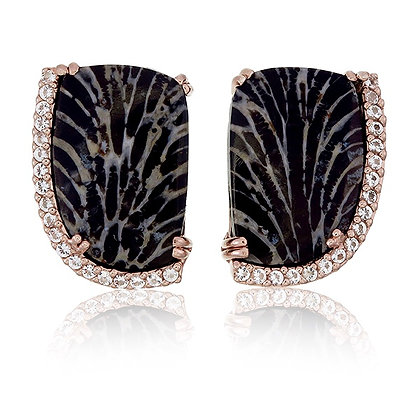 Black Fossilised Coral with White Topaz Accent Studs