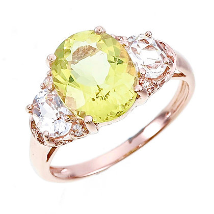 Oval Cut Lemon Quartz with White Topaz Accent Ring