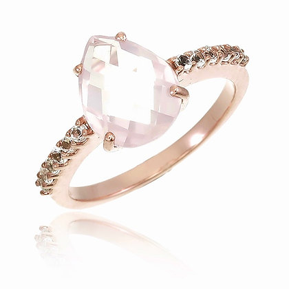 Fancy Cut Rose Quartz with White Topaz Ring