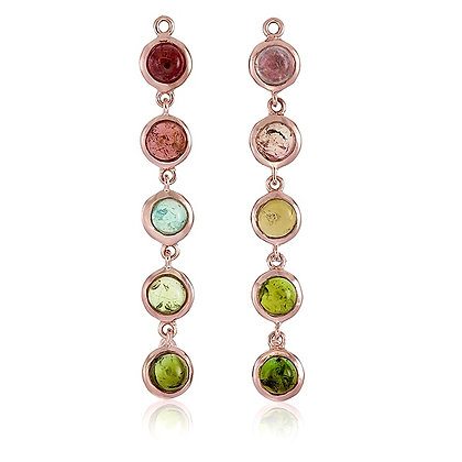 Multi Coloured Tourmaline Cabochon Chain Drops