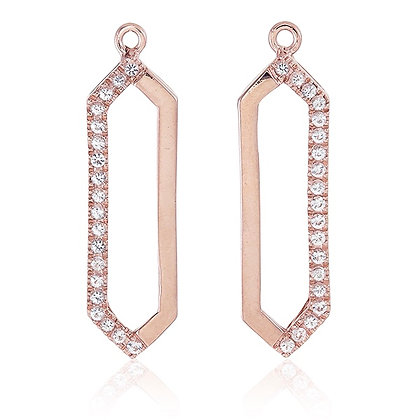 Long Hexagon Drops with White Topaz Accent in Rose Gold