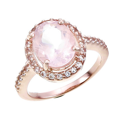 Oval Cut Rose Quartz with White Topaz Accent and Pavé Ring