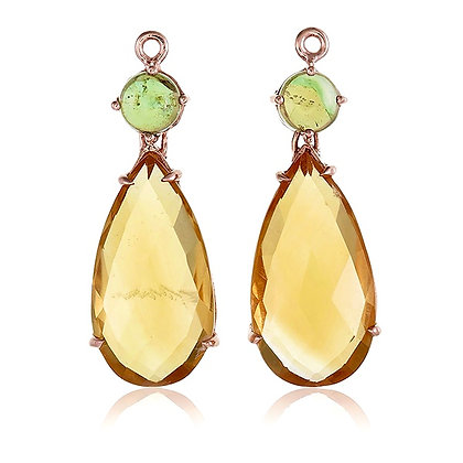 Teardrop Citrine with Round Peridot Cabochon Drops