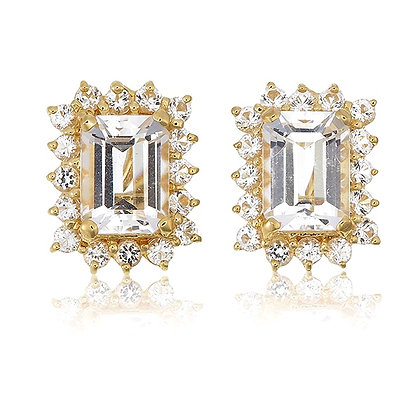 Emerald Cut White Topaz with White Topaz Accent Studs