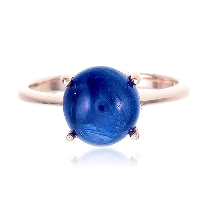 Round Blue Sapphire Cabochon Ring