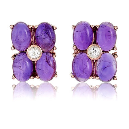 Oval Amethyst Cabochon Clover Cluster Studs