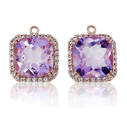 Radiant Cut Purple Amethyst with White Topaz Pavé Drops