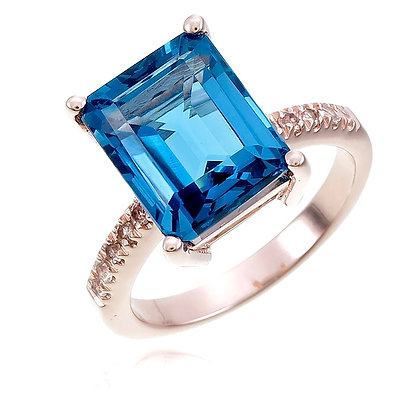 Emerald Cut London Blue Topaz with White Topaz Ring