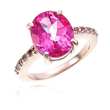 Oval Cut Pink Topaz with White Topaz Ring