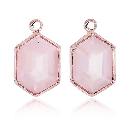 Hexagon Cut Rose Quartz Drops