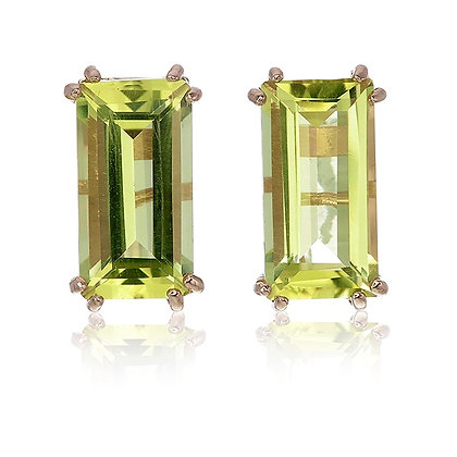 Baguette Cut Lemon Quartz Studs