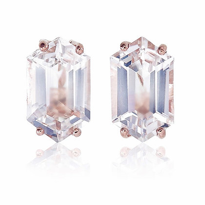 Hexagon Cut White Topaz Studs