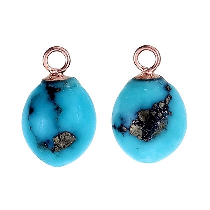 Blue Campitos Turquoise Smooth Acorn Drops