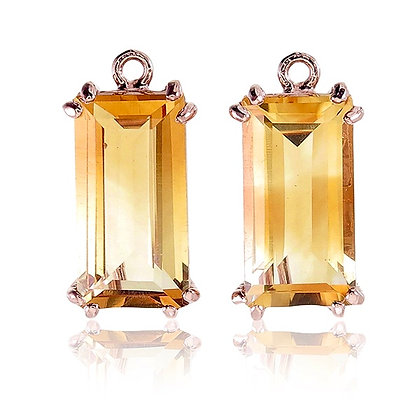 Baguette Cut Citrine Drops