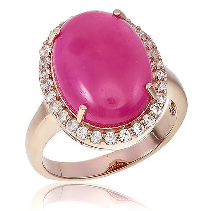 Oval Ruby Cabochon with White Topaz Pavé Ring