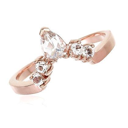 Pear Cut White Topaz Crown Ring