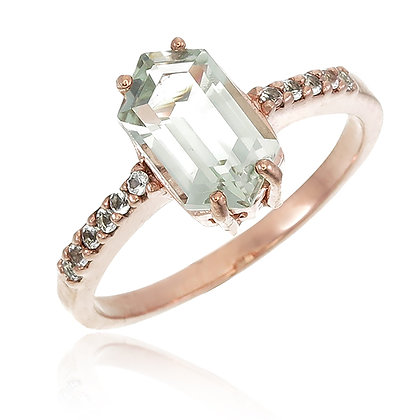 Hexagon Cut Green Amethyst with White Topaz Ring