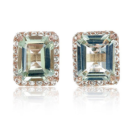 Emerald Cut Green Amethyst with White Topaz Pavé Studs