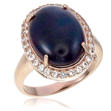 Oval Black Opal Cabochon with White Topaz Pavé Ring