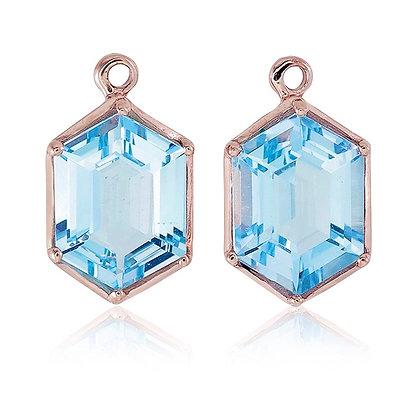 Hexagon Cut Blue Topaz Drops